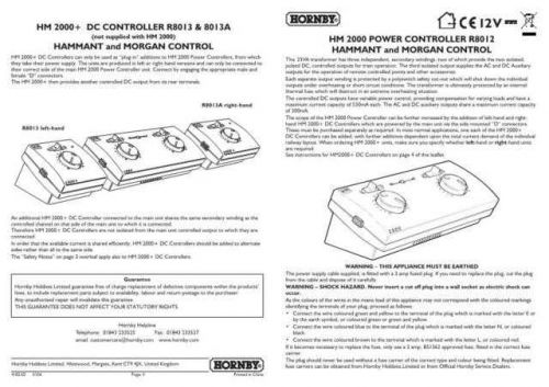 Hornby R8012 HM2000 Controller Multilingual Information by download Mauritron #