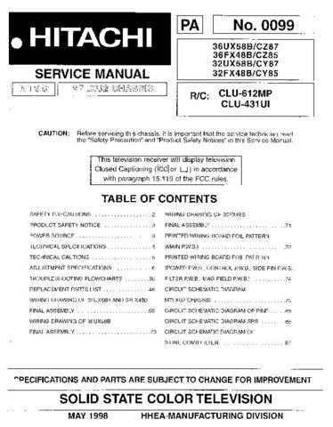 Hitachi 32FX42B Service Manual by download Mauritron #262503