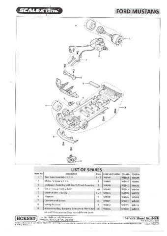 Scalextrix No.343B Ford Mustang Service Sheets by download Mauritron #206452