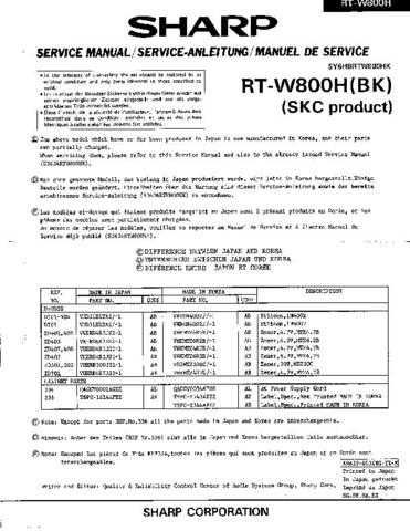 Sharp RTW800H SM SUPPLEMENT GB-DE-FR(1) Service Manual by download Mauritron #