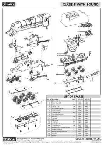Hornby No.355 Class 5 - Black 5 (Sound) Service Sheets by download Mauritron #2
