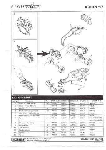 Scalextrix No.318B Jordan 197 Service Sheets by download Mauritron #206390