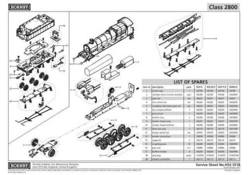 Hornby No.351B Class 2800 Service Sheets by download Mauritron #207140