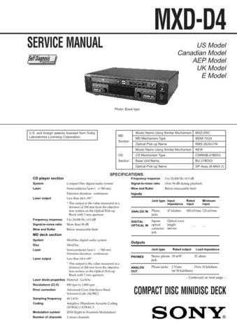 Sony MXD-D4 Service Manual. by download Mauritron #243038