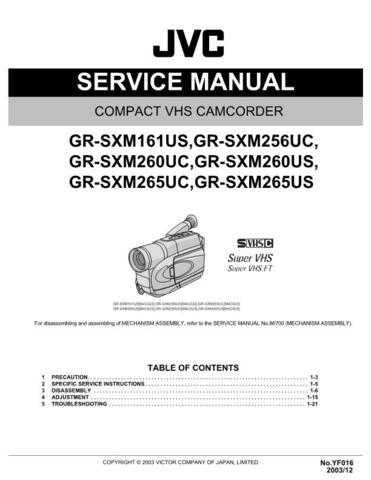 JVC GR-SXM265US SERVICE MANUAL by download Mauritron #220152