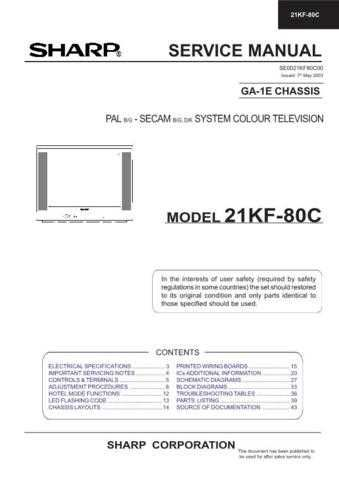 Sharp 21KF80C Service Manual by download Mauritron #207454