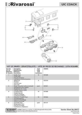 Hornby No.00017 UIC Coach (Rivarossi) Information by download Mauritron #206769