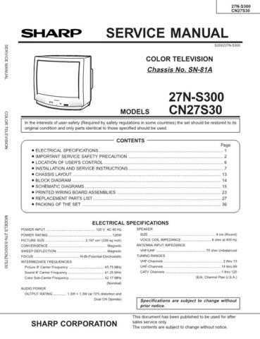 Sharp 27NS300-CN27S30 Service Manual by download Mauritron #207518