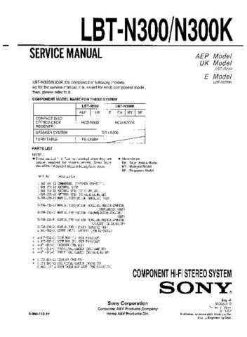 Sony LBT-N300-N300K Service Manual by download Mauritron #241782