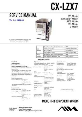 Sony CX-LZX7 Service Manual by download Mauritron #239363