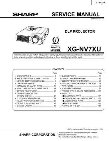 Sharp XG-NVSXU Service Manual by download Mauritron #207674