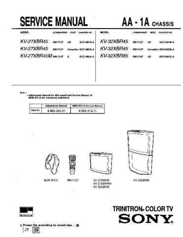 Sony KV-32XBR26 Manual by download Mauritron #229574