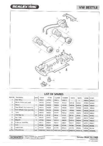 Scalextrix No.336B VW Beetle Service Sheets by download Mauritron #206433