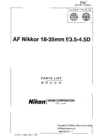 NIKON 18-35mm Parts List by download Mauritron #265811