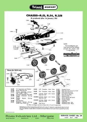 Triang Tri-ang No.059 Chassis R53 R54 R258 Service Sheets by download Mauritron
