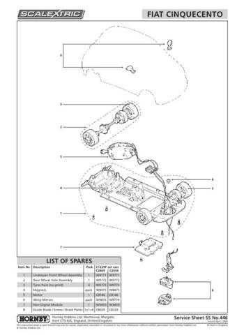 Scalextrix No.446 Fiat Cinquento Service Sheets by download Mauritron #206622
