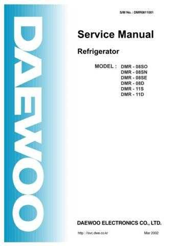 Daewoo DMR0811001 Manual by download Mauritron #225857