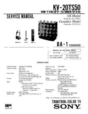 Sony KV-20TR23 Service Manual. by download Mauritron #242210