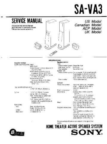 Sony SA-VA15 Technical Manual. by download Mauritron #243724