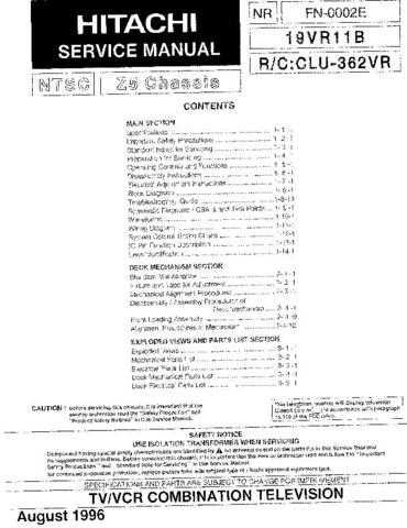 Hitachi 19VR11B Service Manual Schematics by download Mauritron #205693