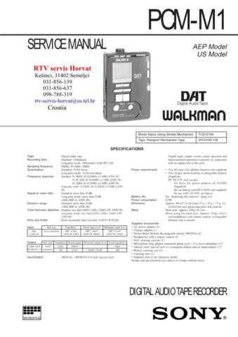 SONY PCMM1 Technical Info by download #104822