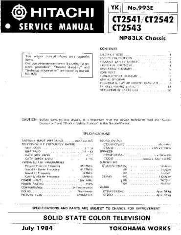Hitachi CT2543 Service Manual Schematics by download Mauritron #205944