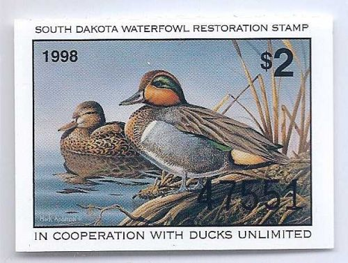 SD16 1998 SOUTH DAKOTA STATE DUCK STAMP, FREE SHIPPING!