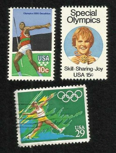 Three US Stamps 1979 & 1991 Javelin Thrower, 1979 Special Olympics