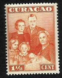 CURACAO 1 - 1/2 Cent Royal Family Unused Stamp in Quality Mount - Rare!