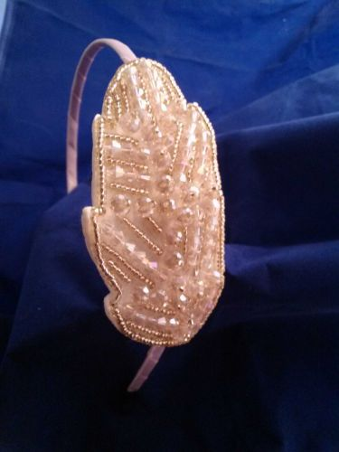 The Light Pink Hand Beaded Crystal Headband