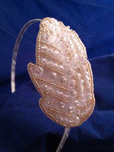The White Crystal Hand Beaded Headband