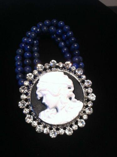 Civil War Vintage Antique Style Lapis Lazuli & Crystal Cameo Bracelet Silvertone