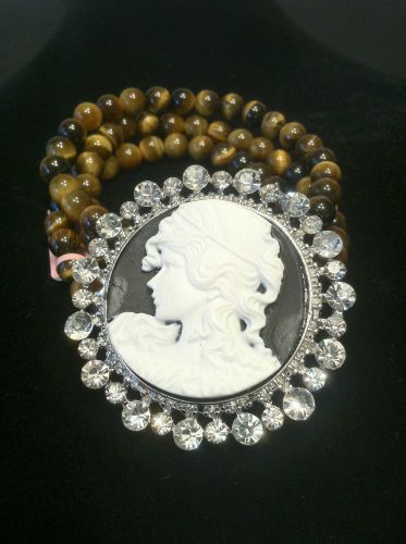 Civil War Style Tigers Eye & Crystal Cameo Bracelet in Silvertone (Stretchable)
