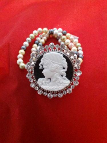 Civil War Vintage Antique Style Pearl & Crystal Cameo Bracelet in Silvertone