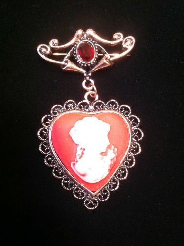 Civil War Style Heartshaped Red Cameo & Red Glass Brooch In Rosetone