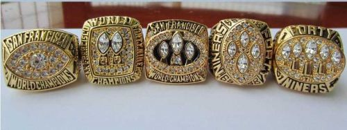 A Set NFL San Francisco 49ers XVI XIX XXIII XXIV XXIX Super Bowl championship Ri