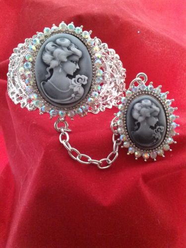 Antique Vintage Civil War Style Gray Cameo Austrian Crystal Cuff With Ring