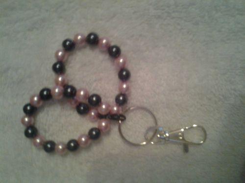 Handmade Punk and Black Beaded Key Chain