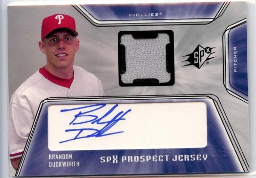 2001 SPx Brandon Duckworth Rookie Auto Jersey Phillies Astros Royals