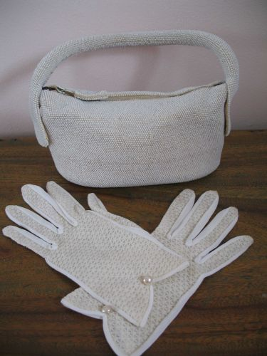 1940's Evening Purse, Beaded, with matching Gloves