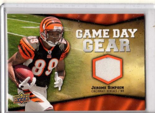 2009 Upper Deck Jerome Simpson Game Day Gear Bengals Game Used Jersey Vikings