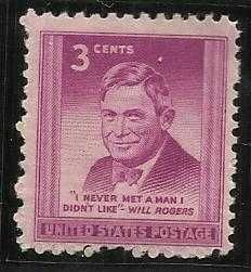 US 3 Cent 1948 Will Rogers Stamp Scott # 975 -MNH - I Never Met Man I Didnt Like