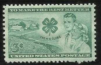 US 3 Cent 1952 4-H Club Stamp Scott #1005 - MNH