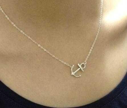 Sideways Silver Anchor Charm Necklace