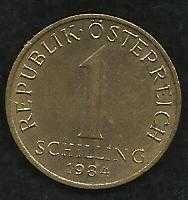 Austria Coin 1-Schilling Aluminum-Bronze 1984 #355