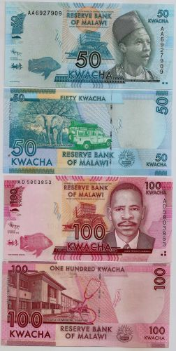 Malawi two piece set, features the Kw.50 + Kw.100 Banknotes. UNC.