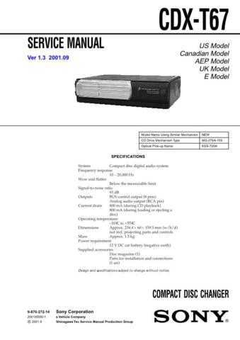 Sony CDX-L550XL570X Service Information by download Mauritron #237618