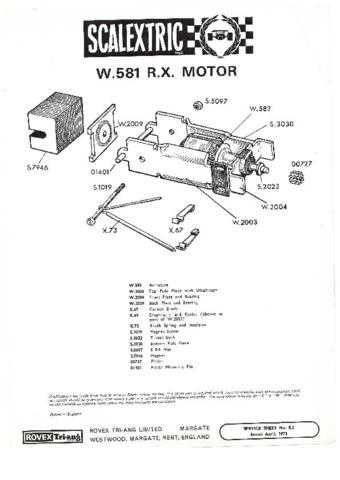 Scalextrix 000W581 RX Motor Service Sheets by download Mauritron #206287