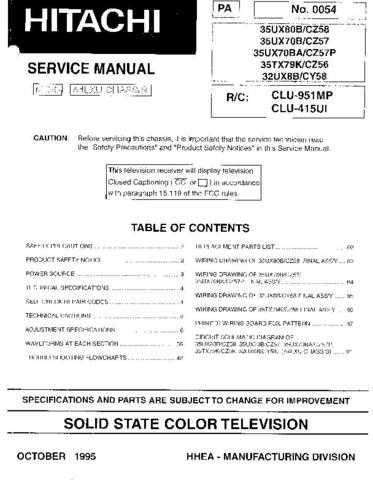 Hitachi 32UX8B Service Manual Schematics by download Mauritron #205777