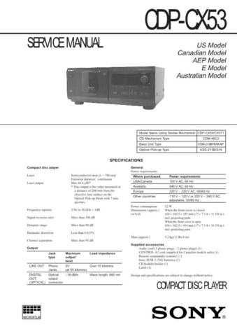 Sony CDP-CX50CX571 Service Manual by download Mauritron #237339